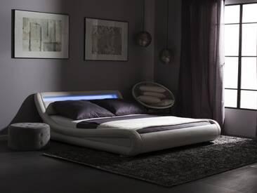 Bett Kunstleder weiss 180 x 200 cm mit LED-Beleuchtung AVIGNON
