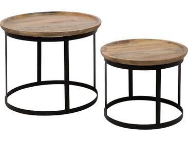2 Beistelltische dunkler Holzfarbton schwarze Beine OSIAN