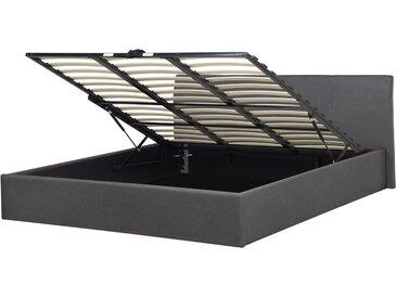 Polsterbett Leinenoptik grau mit Bettkasten hochklappbar 180 x 200 cm ORBEY