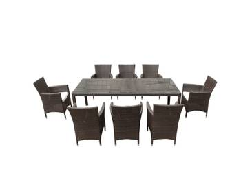 Gartenmöbel Set Rattan dunkelbraun Tisch 220 x 100 cm 8-Sitzer Kissen weiss ITALY