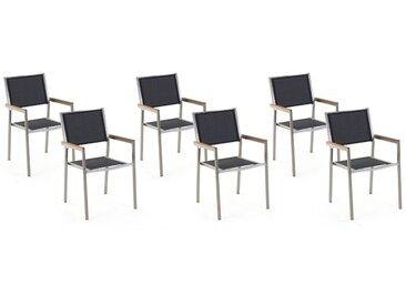 Gartenstuhl schwarz 6er Set Edelstahl GROSSETO