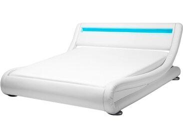 Bett Kunstleder weiß 140 x 200 cm mit LED-Beleuchtung AVIGNON