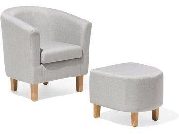 Sessel mit Hocker grau HOLDEN