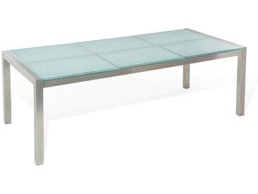 Gartentisch Edelstahl/Crashglas 220 x 100 cm GROSSETO