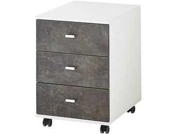 Container »Altino« 3 klassische Schubladen Weiß / Basalto-Dunkel, Germania-Werke, 40x57x49 cm