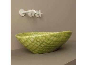 Design Aufsatzwaschbecken, grün-Python, Keramik Animals made in Italy