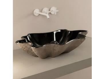 Design Aufsatzwaschbecken, Keramik, schwarz und silber Rayan Italy