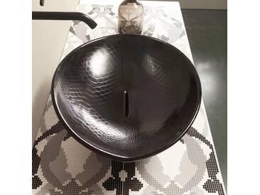 Design Aufsatzwaschbecken, schwarz-Python, Keramik Animals Italy