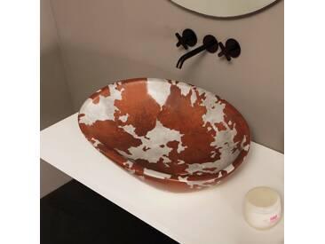 Design Aufsatzwaschbecken, Keramik, gescheckt, made in Italy Glossy