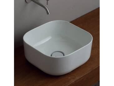 Aufsatzwaschbecken 37x37cm, Keramik made in Italy Star modernes Design
