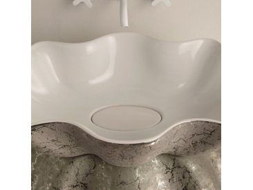 Aufsatzwaschbecken, Keramik, weiß, silber, made in Italy Design Cubo