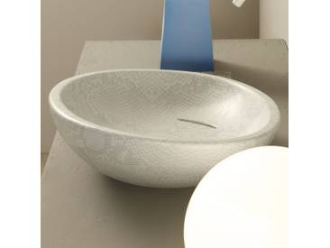 Design Aufsatzwaschbecken, weiß-Python, Keramik Glossy made in Italy