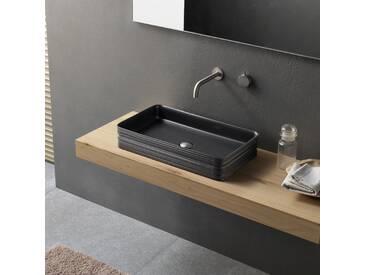 Modernes Aufsatzwaschbecken aus Keramik schwarz Novello