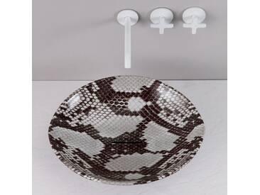 Design Aufsatzwaschbecken, Kobra Fantasie, Keramik, made Italy Animals
