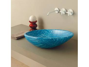 Design Aufsatzwaschbecken, blau-Python, Keramik Glossy made in Italy