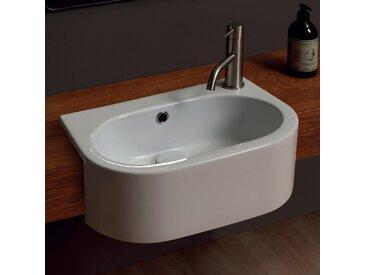 Modernes Halb-Einbauwaschbecken aus Keramik Shine 46x32, made in Italy
