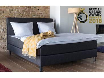 Boxspringbett 160x200 in grau inkl. 7 Zonen Matratze | BRUNO - Hochwertige Materialien, beste Verarbeitung und ein zeitloses, klares Design