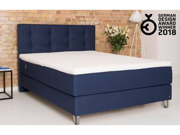 Boxspringbett 160x200 in blau inkl. 7 Zonen Matratze | BRUNO - Hochwertige Materialien, beste Verarbeitung und ein zeitloses, klares Design