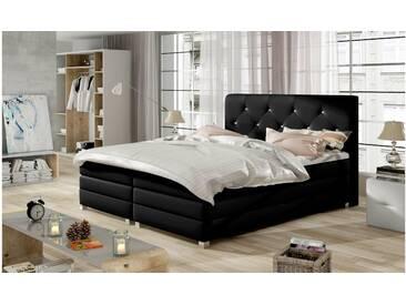 JUSTyou Teja Boxspringbett Continentalbett Amerikanisches Bett Doppelbett Ehebett Gästebett Schwarz 180x200 cm