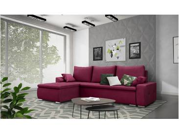 JUSTyou Claribel Ecksofa Eckgarnitur Eckcouch Links Velours AMORE Bordeaux