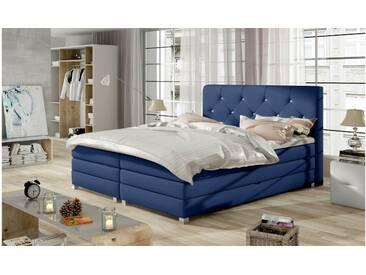 JUSTyou Teja Boxspringbett Continentalbett Amerikanisches Bett Doppelbett Ehebett Gästebett Dunkelblau 180x200 cm