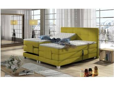 JUSTyou Tasso Boxspringbett Continentalbett Amerikanisches Bett Doppelbett Ehebett Gästebett Gelb 160x200