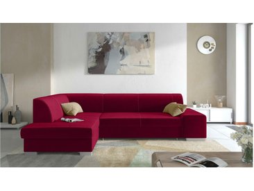 JUSTyou Piave Ecksofa Eckgarnitur Eckcouch Rot Links Velours