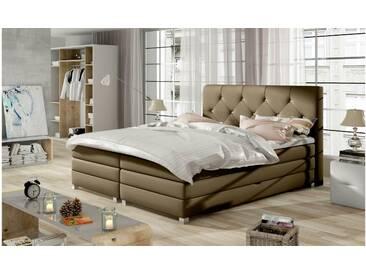 JUSTyou Teja Boxspringbett Continentalbett Amerikanisches Bett Doppelbett Ehebett Gästebett Cappuccino 180x200 cm