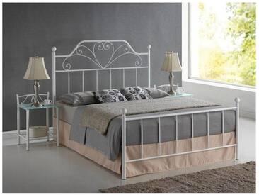 JUSTyou Lima Metallbett Doppelbett Ehebett Gästebett Weiß 135x164x210 cm