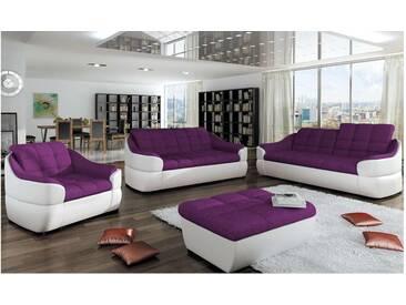 JUSTyou INFINITY 3+2+1 Polstergarnitur Sofa Couchgarnitur Weiß Violett