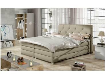 JUSTyou Teja Boxspringbett Continentalbett Amerikanisches Bett Doppelbett Ehebett Gästebett Beige 180x200 cm