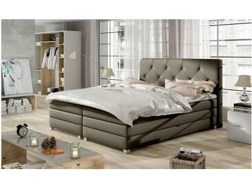 JUSTyou Teja Boxspringbett Continentalbett Amerikanisches Bett Doppelbett Ehebett Gästebett Taupe 180x200 cm