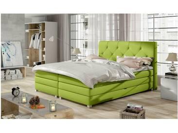 JUSTyou Teja Boxspringbett Continentalbett Amerikanisches Bett Doppelbett Ehebett Gästebett Limette 160x200 cm