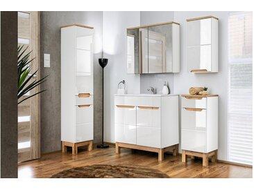 JUSTyou Argentat Badezimmerset Bademöbel Komplett Bademöbelset Weiß | Hochglanz