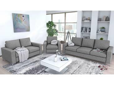 JUSTyou Helmer Polstergarnitur Sofa Couchgarnitur Hellgrau Strukturstoff