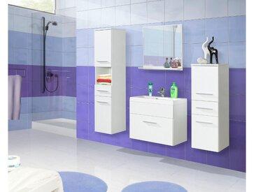 JUSTyou Lupo I Badezimmerset Bademöbel Komplett Bademöbelset 4-teilig Weiß