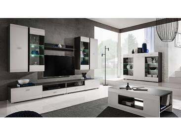 JUSTyou Mosel Wohnzimmerset Wohnzimmer Komplett Graphit Weiß
