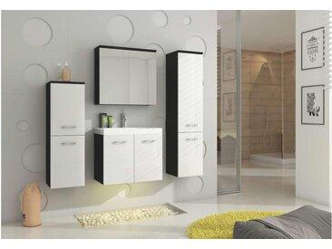 JUSTyou Montana Badezimmerset Bademöbel Komplett Bademöbelset 4-teilig Schwarz Weiß
