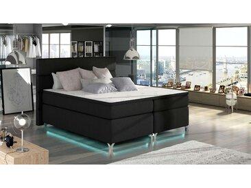 JUSTyou Mars LED Boxspringbett Continentalbett Amerikanisches Bett Doppelbett Ehebett Gästebett Schwarz 140x200 Strukturstoff