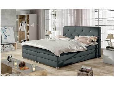 JUSTyou Teja Boxspringbett Continentalbett Amerikanisches Bett Doppelbett Ehebett Gästebett Anthrazit 160x200 cm