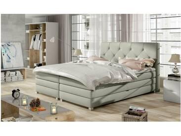 JUSTyou Teja Boxspringbett Continentalbett Amerikanisches Bett Doppelbett Ehebett Gästebett Hellgrau 180x200 cm