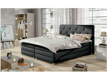 JUSTyou Teja Boxspringbett Continentalbett Amerikanisches Bett Doppelbett Ehebett Gästebett Dunkelgrau 160x200 cm