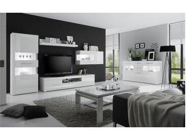 JUSTyou Santorini Wohnzimmerset Wohnzimmer Komplett Weiß | Hochglanz