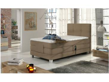 JUSTyou Tasso Boxspringbett Continentalbett Amerikanisches Bett Doppelbett Ehebett Gästebett Cappuccino 100x200