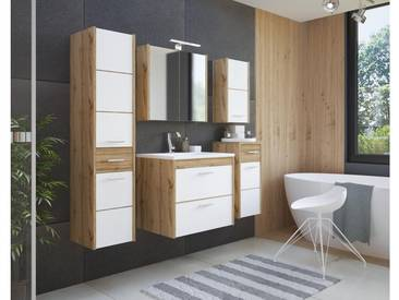 JUSTyou Conillera Badezimmerset Bademöbel Komplett Bademöbelset Wotan Eiche Weiß Hochglanz