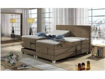 JUSTyou Tasso Boxspringbett Continentalbett Amerikanisches Bett Doppelbett Ehebett Gästebett Cappuccino 160x200