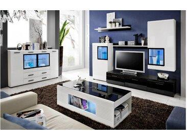JUSTyou Elde Wohnzimmerset Wohnzimmer Komplett Weiß Schwarz