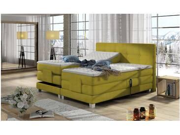 JUSTyou Tasso Boxspringbett Continentalbett Amerikanisches Bett Doppelbett Ehebett Gästebett Gelb 180x200