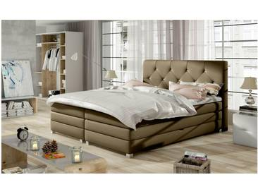 JUSTyou Teja Boxspringbett Continentalbett Amerikanisches Bett Doppelbett Ehebett Gästebett Cappuccino 140x200 cm