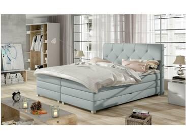 JUSTyou Teja Boxspringbett Continentalbett Amerikanisches Bett Doppelbett Ehebett Gästebett Hellgrau 160x200 cm